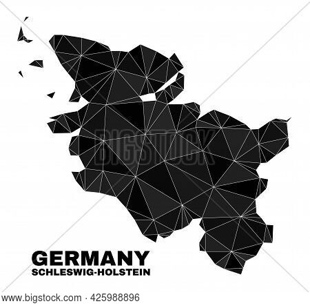 Low-poly Schleswig-holstein Land Map. Polygonal Schleswig-holstein Land Map Vector Is Filled Of Chao