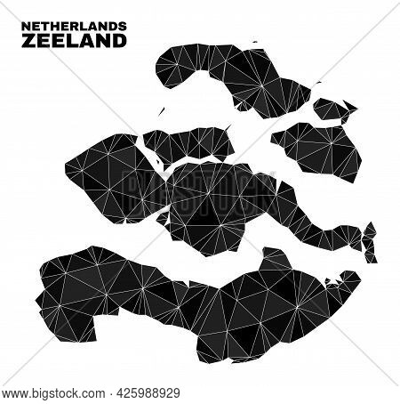 Low-poly Zeeland Province Map. Polygonal Zeeland Province Map Vector Combined With Randomized Triang
