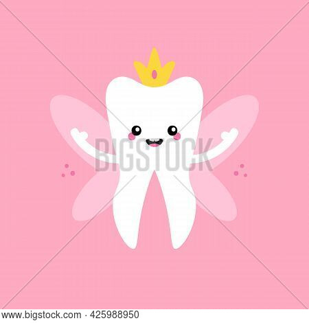Cute Cartoon Style Tooth Fairy, Tooth Queen With Golden Crown And Wings Vector Illustration, Icon Fo