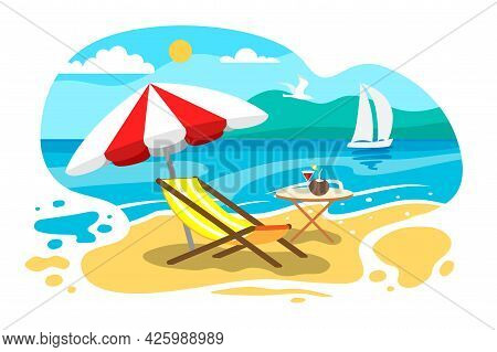 Umbrella And Sun Lounger On The Beach Seaside Vacation Summer Holiday Lounger On Sea Beach Landscape