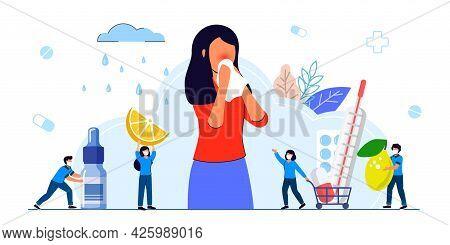 Seasonal Allergy Seasonal Allergy Diagnosis Pollen Allergy Immunotherapy Concept Illness With Cough,