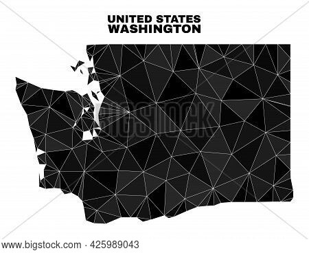 Low-poly Washington State Map. Polygonal Washington State Map Vector Is Designed Of Randomized Trian