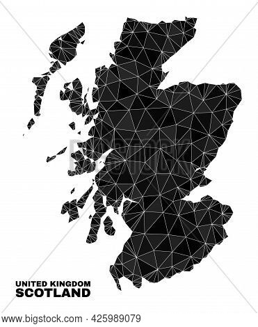Low-poly Scotland Map. Polygonal Scotland Map Vector Is Constructed From Chaotic Triangles. Triangul