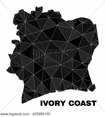 Low-poly Ivory Coast Map. Polygonal Ivory Coast Map Vector Filled With Chaotic Triangles. Triangulat