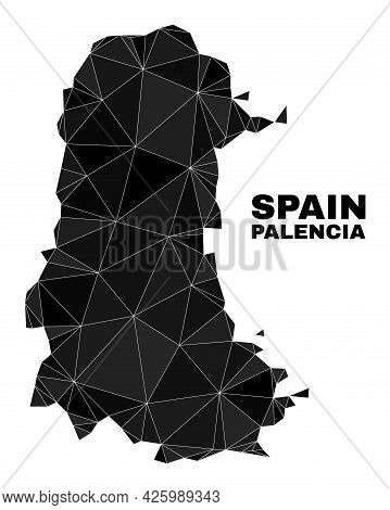 Low-poly Palencia Province Map. Polygonal Palencia Province Map Vector Is Combined Of Chaotic Triang