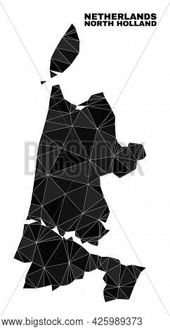 Lowpoly North Holland Map. Polygonal North Holland Map Vector Designed Of Chaotic Triangles. Triangu