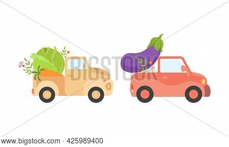 Cute Cars Delivering Vegetables, Small Trucks Shipping Eggplant And Cabbage Fresh Ripe Vegetables Ca