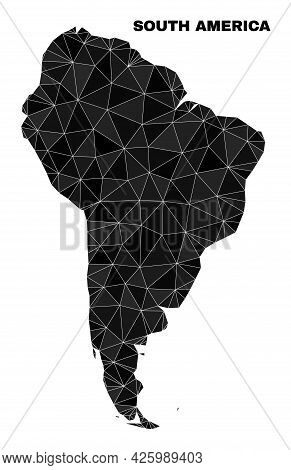 Low-poly South America Map. Polygonal South America Map Vector Is Constructed Of Chaotic Triangles.