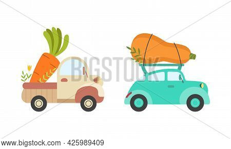 Cute Cars Delivering Vegetables, Small Trucks Shipping Zucchini And Carrot Fresh Ripe Vegetables Car