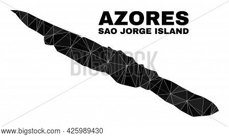 Lowpoly Sao Jorge Island Map. Polygonal Sao Jorge Island Map Vector Filled From Randomized Triangles