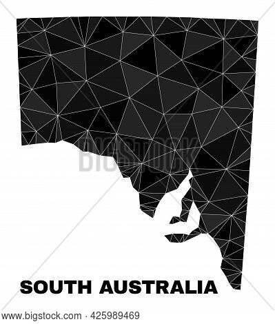 Low-poly South Australia Map. Polygonal South Australia Map Vector Constructed Of Randomized Triangl