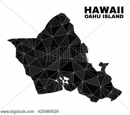 Low-poly Oahu Island Map. Polygonal Oahu Island Map Vector Combined From Random Triangles. Triangula
