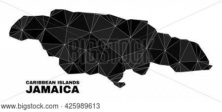 Low-poly Jamaica Map. Polygonal Jamaica Map Vector Is Constructed From Scattered Triangles. Triangul