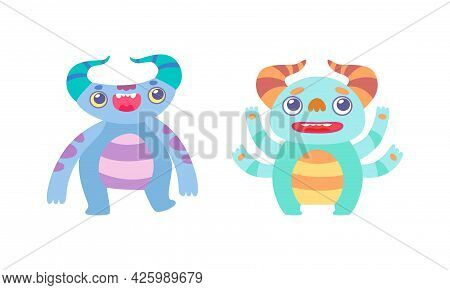 Cute Little Monsters Set, Funny Colorful Horned Monsters Cartoon Vector Illustration
