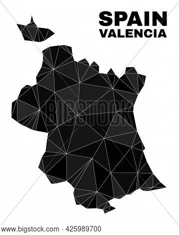 Low-poly Valencia Province Map. Polygonal Valencia Province Map Vector Is Combined Of Chaotic Triang