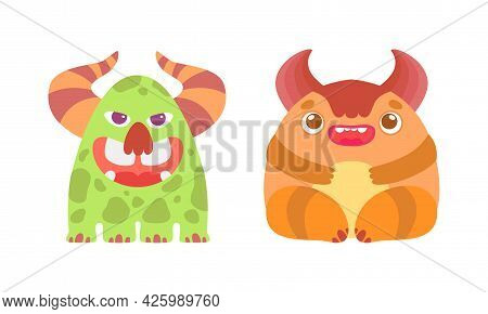 Friendly Baby Monsters Set, Cute Funny Monster Characters Cartoon Vector Illustration