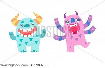 Happy Friendly Baby Monsters Set, Cute Funny Smiling Monster Characters Cartoon Vector Illustration