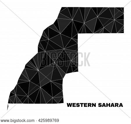Lowpoly Western Sahara Map. Polygonal Western Sahara Map Vector Filled From Randomized Triangles. Tr