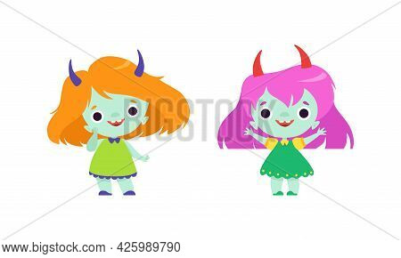Cute Troll Characters With Different Hair Color Set, Funny Lovely Girs Fantasy Fairytale Creatures C