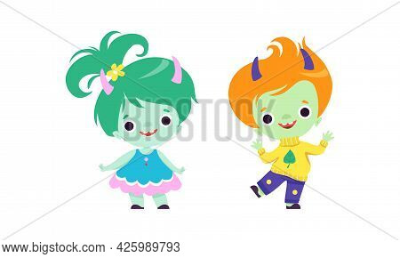 Cute Troll Characters With Different Hair Color Set, Tiny Boy And Girl Fantasy Fairytale Creatures C