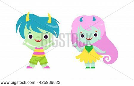 Tiny Troll Characters With Different Hair Color Set, Funny Boy And Girl Fantasy Creatures Cartoon Ve