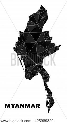 Low-poly Myanmar Map. Polygonal Myanmar Map Vector Constructed From Chaotic Triangles. Triangulated
