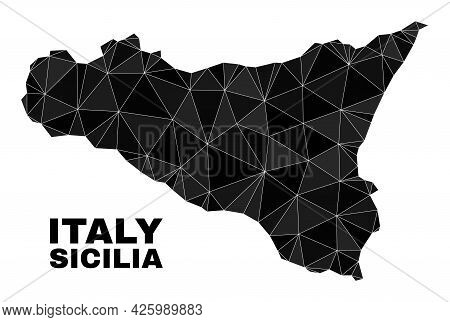 Lowpoly Sicilia Map. Polygonal Sicilia Map Vector Combined With Random Triangles. Triangulated Sicil
