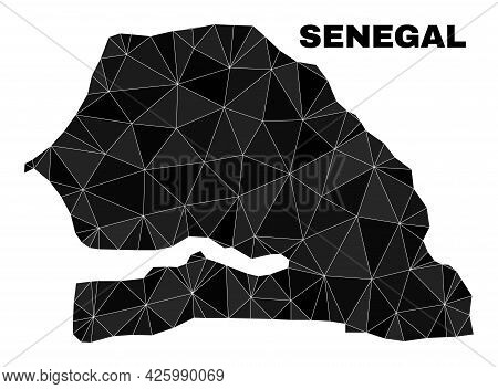 Low-poly Senegal Map. Polygonal Senegal Map Vector Is Filled From Random Triangles. Triangulated Sen