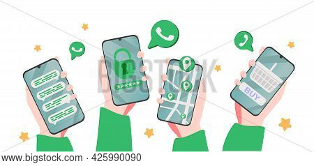 Smart Phone Conversation In Messenger Concept. App Interface Template. Hand Hold Gadget With Social