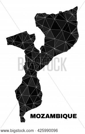 Low-poly Mozambique Map. Polygonal Mozambique Map Vector Is Designed With Chaotic Triangles. Triangu