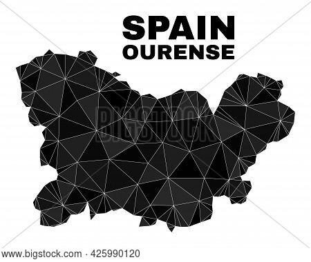 Lowpoly Ourense Province Map. Polygonal Ourense Province Map Vector Is Constructed From Random Trian