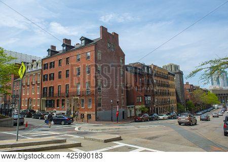 Boston - May 16, 2018: Historic Buildings At Block On Bowdoin Street Between At Derne Street On Beac