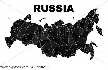 Lowpoly Russia Map. Polygonal Russia Map Vector Is Designed From Chaotic Triangles. Triangulated Rus