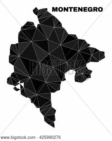 Lowpoly Montenegro Map. Polygonal Montenegro Map Vector Is Designed With Scattered Triangles. Triang