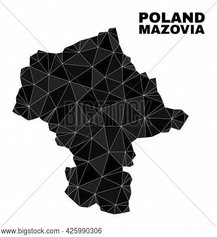 Low-poly Mazovia Province Map. Polygonal Mazovia Province Map Vector Is Filled From Chaotic Triangle