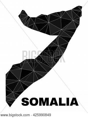 Lowpoly Somalia Map. Polygonal Somalia Map Vector Is Designed From Randomized Triangles. Triangulate