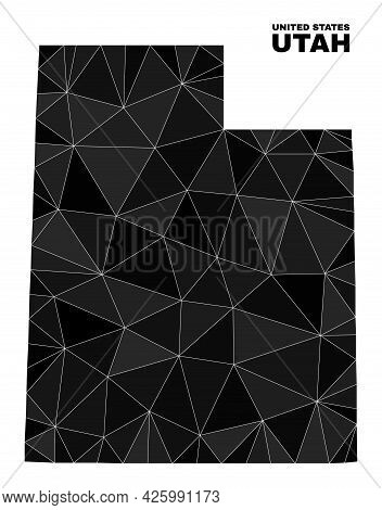 Low-poly Utah State Map. Polygonal Utah State Map Vector Is Designed Of Scattered Triangles. Triangu