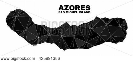 Low-poly Sao Miguel Island Map. Polygonal Sao Miguel Island Map Vector Is Designed With Scattered Tr