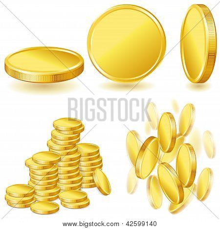 xollection illustrations, icons of gold coins.