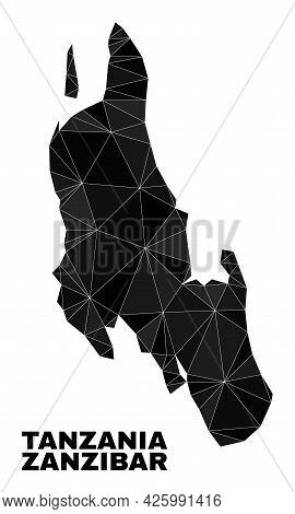 Low-poly Zanzibar Island Map. Polygonal Zanzibar Island Map Vector Is Constructed Of Randomized Tria