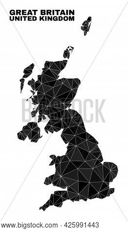 Low-poly United Kingdom Map. Polygonal United Kingdom Map Vector Is Filled Of Randomized Triangles.