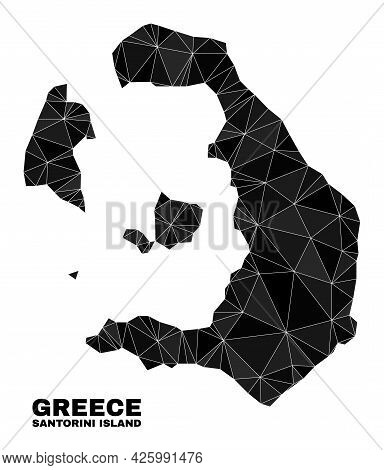 Low-poly Santorini Island Map. Polygonal Santorini Island Map Vector Designed Of Scattered Triangles