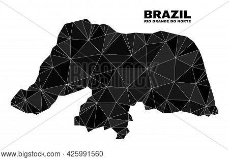 Low-poly Rio Grande Do Norte State Map. Polygonal Rio Grande Do Norte State Map Vector Is Constructe