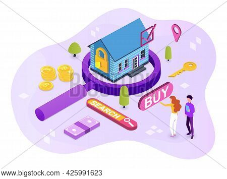 Concept Of Finding A Home, Buying Real Estate For A Family. The Woman Found The Perfect Home. She Is