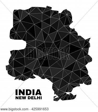Lowpoly New Delhi City Map. Polygonal New Delhi City Map Vector Is Designed With Chaotic Triangles.