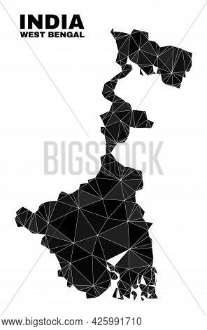 Low-poly West Bengal State Map. Polygonal West Bengal State Map Vector Constructed Of Random Triangl