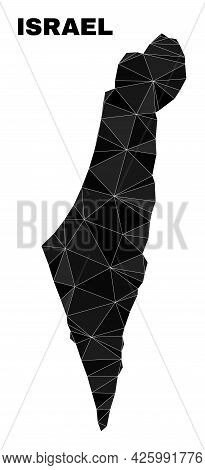 Lowpoly Israel Map. Polygonal Israel Map Vector Filled With Chaotic Triangles. Triangulated Israel M