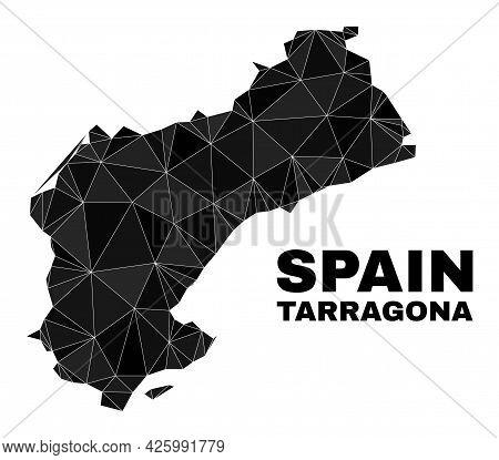 Low-poly Tarragona Province Map. Polygonal Tarragona Province Map Vector Filled With Randomized Tria