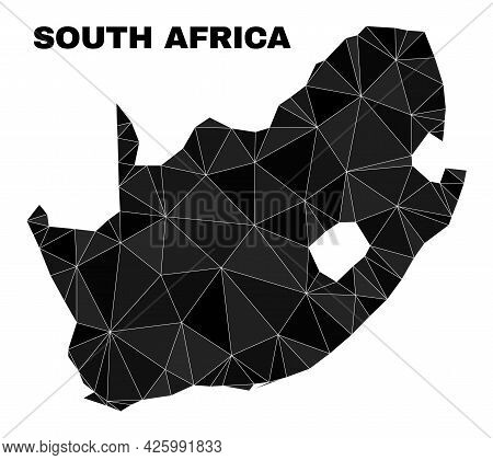 Lowpoly South African Republic Map. Polygonal South African Republic Map Vector Constructed Of Rando