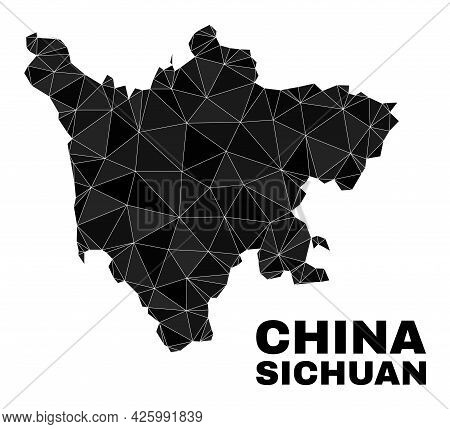 Low-poly Sichuan Province Map. Polygonal Sichuan Province Map Vector Combined From Random Triangles.
